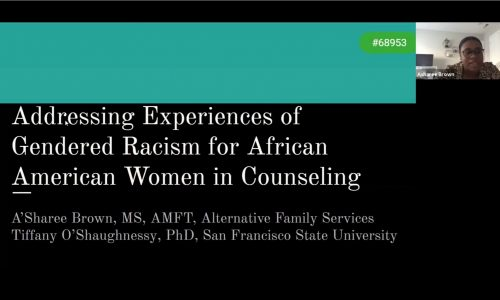 Title screen: Addressing Experiences of Gendered Racism for African American Women in Counseling