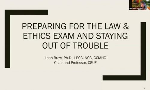 Title screen: Preparing for the Law & Ethics Exam and Staying out of Trouble