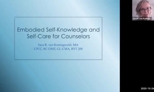 Title screen: Embodied Self-Knowledge and Self-Care for Counselors