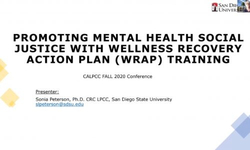 Title Screen: Promoting Mental Health Social Justice with Wellness Recovery Action Plan (WRAP) Training