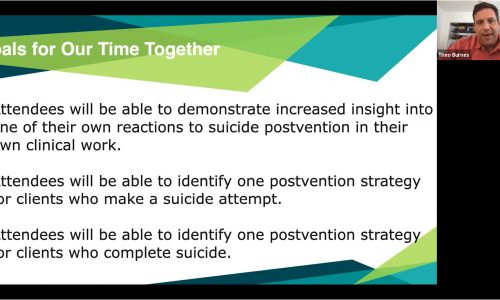 Image: screen shot of Dr. Theo Burnes and a list of goals from his presentation